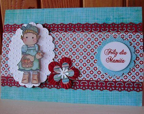 tarjeta casera dia de la madre muneca