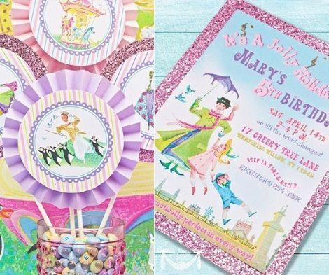 cumpleanos mary poppins invitacion