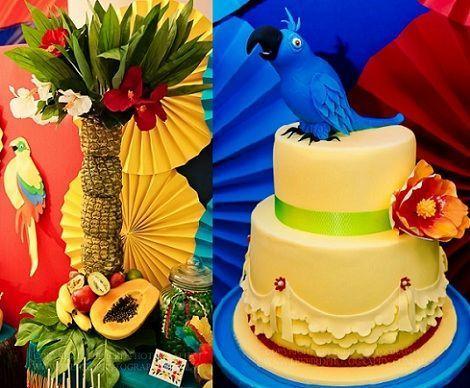 fiesta tropical centro de mesa