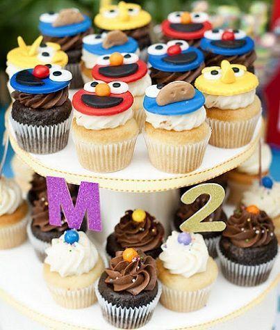 cumpleanos barrio sesamo cupcakes
