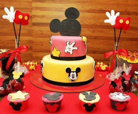 cumpleanos un ano mickey mouse tarta