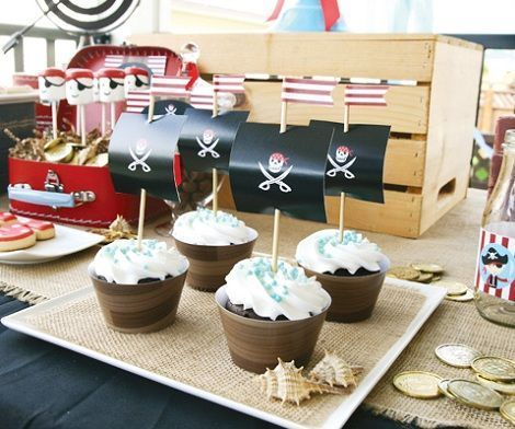 fiesta piratas cake tarta cupcakes