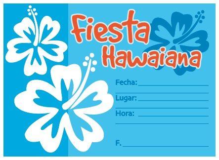 invitaciones fiesta hawaiana azul