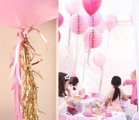 cumpleanos princesas rosa globos