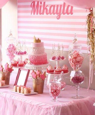 cumpleanos princesas rosa mesa