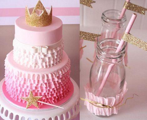 cumpleanos princesas rosa tarta