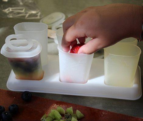 helado casero fruta tarros