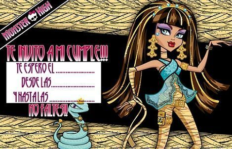 invitacion monster high dorada