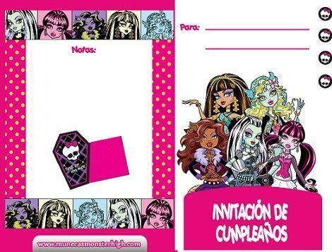invitacion monster high dos caras