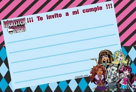 invitacion monster high grupo