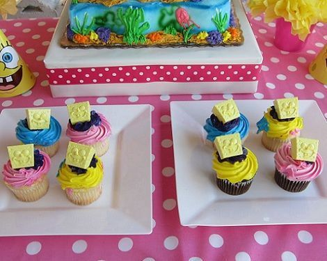 cumpleanos bob esponja cupcakes