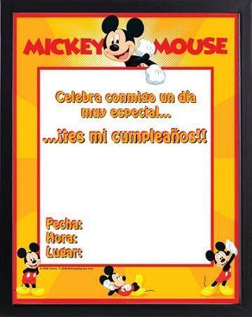 invitaciones cumpleanos infantil mickey mouse