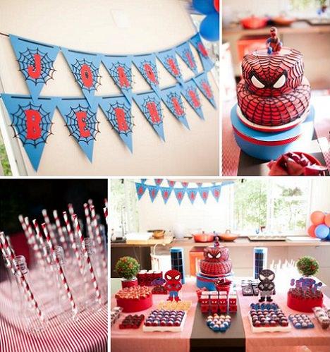decoracion de una fiesta del hombre araña