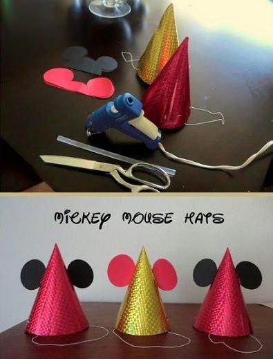 gorros de cumpleaños caseros de mickey mouse