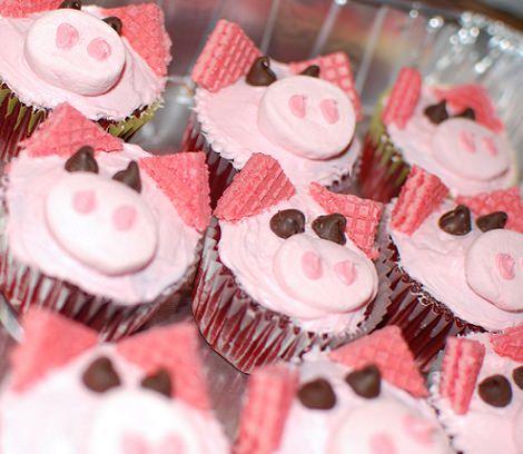 cupcakes decorados con forma de cerdito