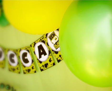 decoración con globos para un cumpleaños