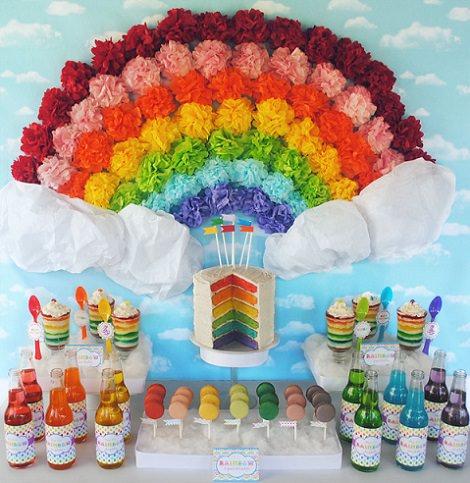 Decoraci n e ideas para una fiesta de cumplea os de arco ris - Decoracion cumpleanos infantiles manualidades ...