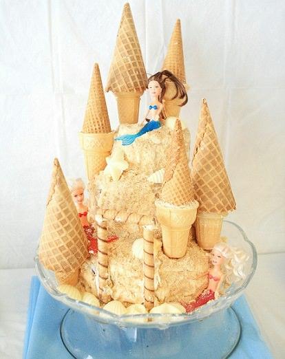 tarta de cumpleaños casera de la Sirenita de Disney