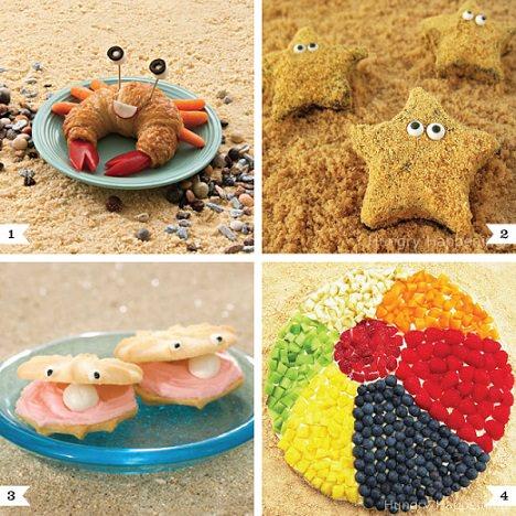 comida para una fiesta infantil en la playa