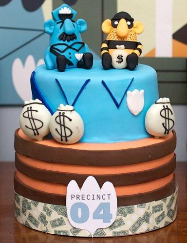 tarta para una fiesta infantil de cumpleaños de policías
