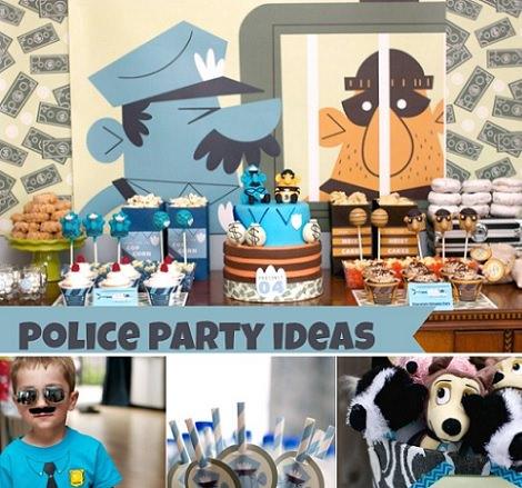 decoración para una fiesta infantil de cumpleaños de policías