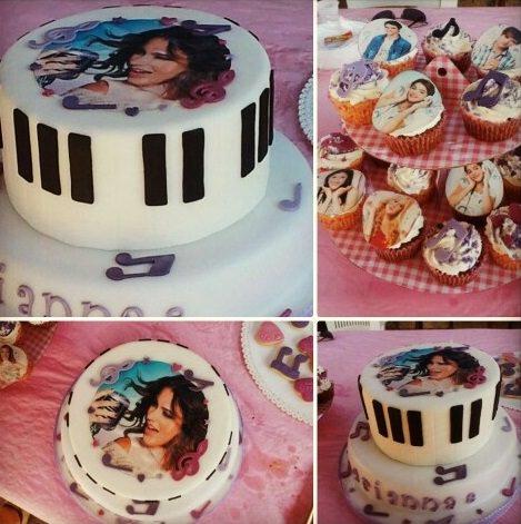 tarta para una fiesta infantil de violetta