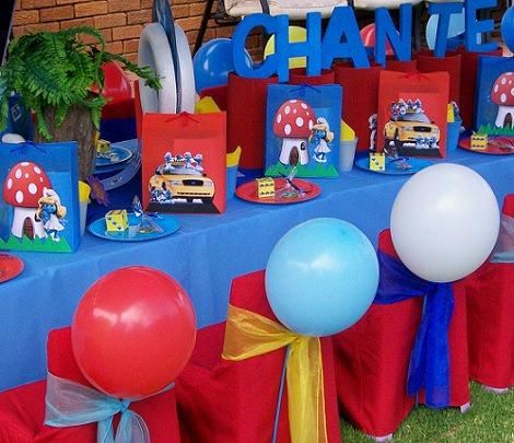 decoración de cumpleaños de los pitufos