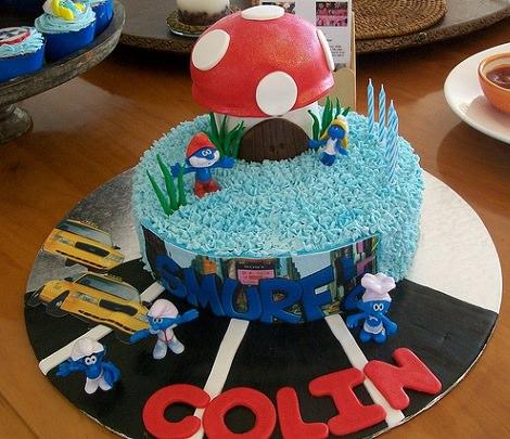 tarta de cumpleaños de los pitufos