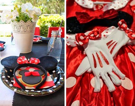 decoración para un cumpleaños de Minnie Mouse casero