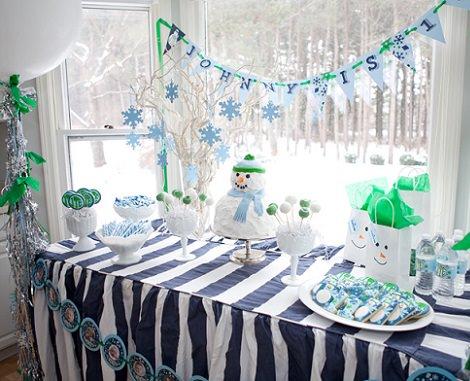 decoración de un cumpleaños infantil en Navidad