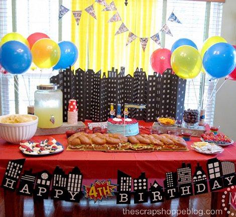 Decoraci n para una fiesta de cumplea os de superh roes - Decoracion cumpleanos infantiles manualidades ...