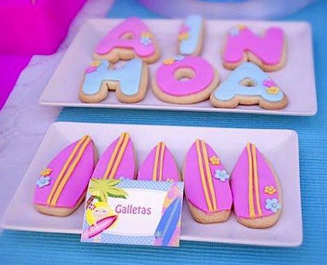 galletas para una fiesta infantil surfista para niña