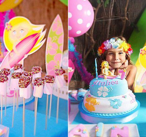 tarta para una fiesta infantil surfista para niña