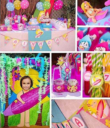 ideas para una fiesta infantil surfista para niña