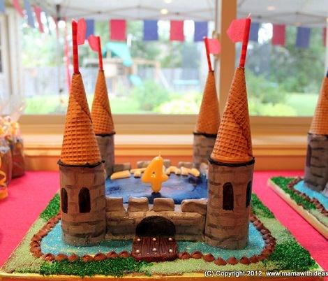 tarta medieval para niños mesa