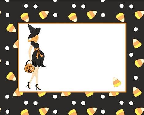 tarjeta de halloween de bruja y gominolas