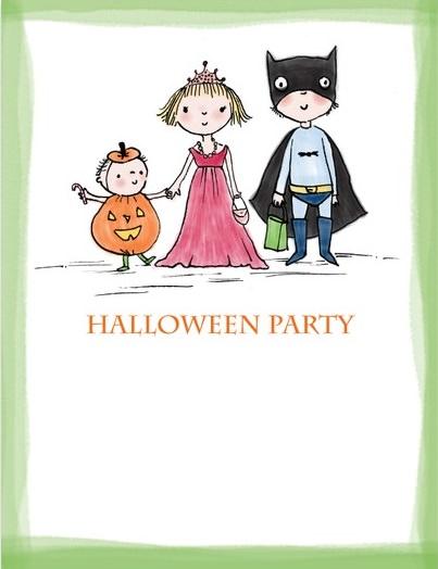 tarjeta de halloween de niños estilo dibujo