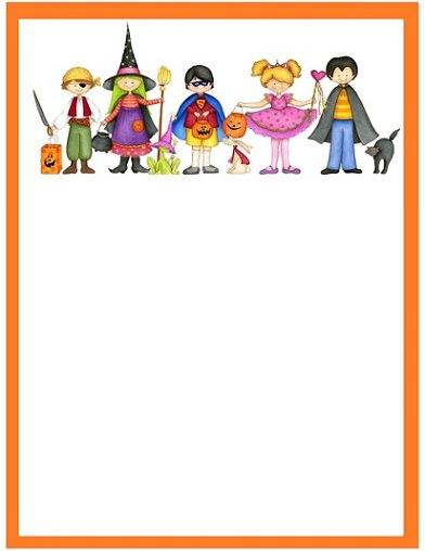 tarjeta de halloween de niños disfrazados