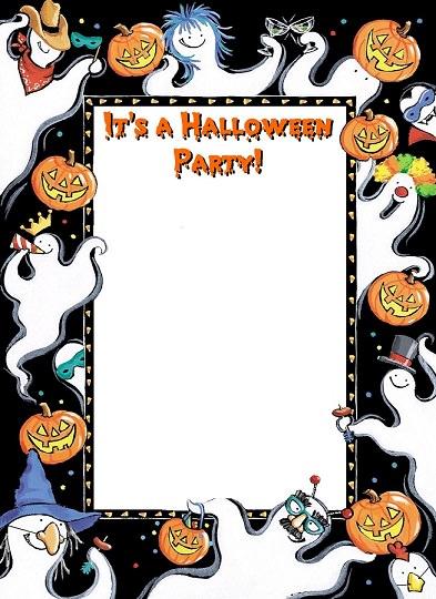 tarjeta con fantasmas y calabazas
