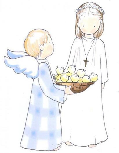 dibujos para recordatorios de comunión niña