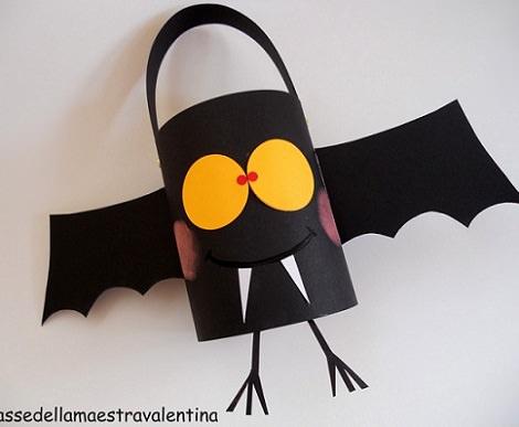 bolso de chuches caseras para halloween con forma de muerciélago