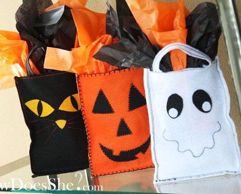 saco de chuches caseras para halloween de fieltro