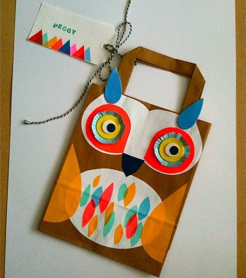 como hacer una bolsa de cumpleaños con forma de búho