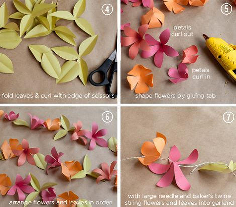 guirnalda casera de flores con papel - Hacer Guirnaldas