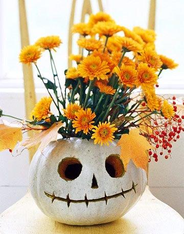 calabazas de halloween decoradasflorero