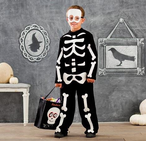 disfraz casero de esqueleto de halloween