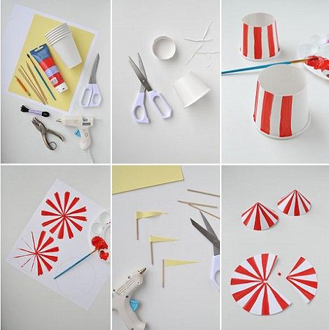 3460034c1c9e5 Cómo hacer gorros de fiesta del circo con vasos de papel