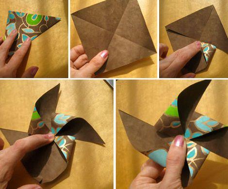 molinillo de papel para hacer con niños