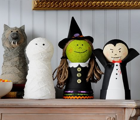 manualidades infantiles de Halloween macetas decoradas