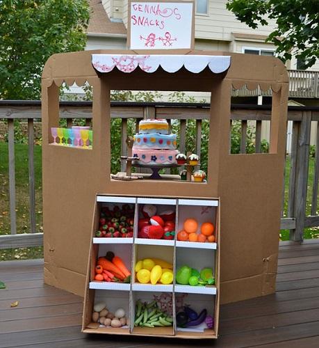 creamos un bonito puesto de fruta con cajas de cartón